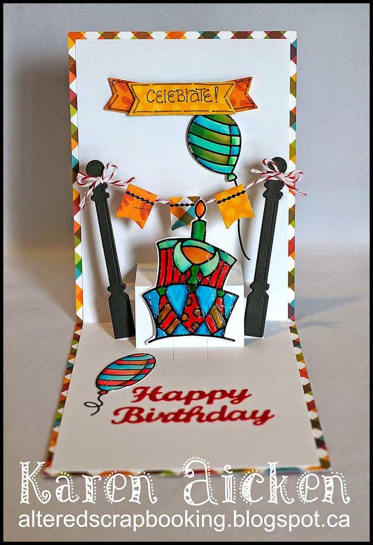 Karen Aicken using the Pop it Ups Lots of Pops die by Karen Burniston for Elizabeth Craft Designs. Also uses ECD peel-offs and HB die - Altered Scrapbooking: C4C247 Leafy Birthday Card … with Bunting!