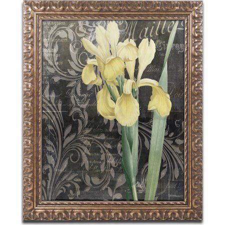Trademark Fine Art Ode to Yellow Flowers Canvas Art by Color Bakery, Gold Ornate Frame, Size: 11 x 14, Black