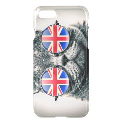 Funny hipster cat EU UK flag vintage glasses iPhone 8/7 Case - humor funny fun humour humorous gift idea
