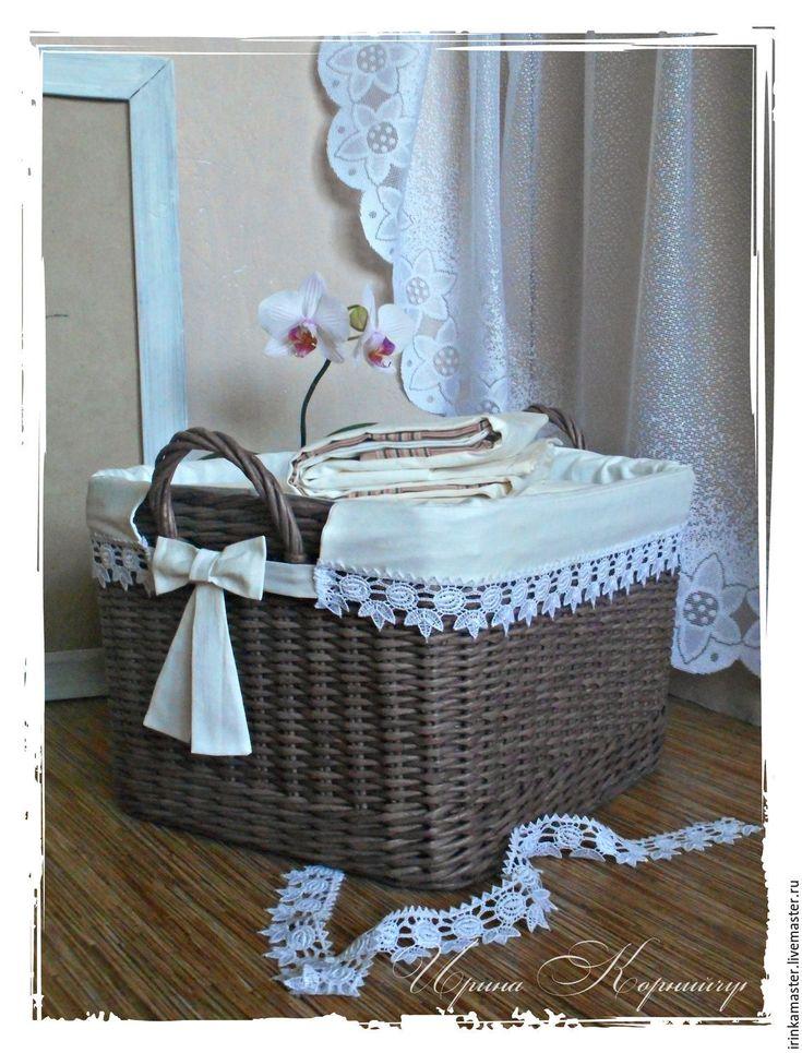 """Купить Плетеная корзина с чехлом """"Уютный дом"""", короб для белья - с мешком, плетеная корзина, плетеная"""
