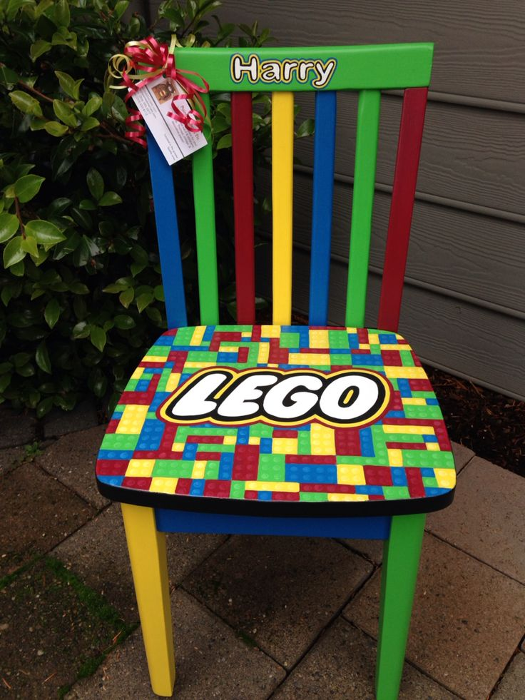 Lego Custom Chair For Child. Lego Themed With Red, Blue, Green, And. Hand  Painted ChairsHand Painted FurnitureKid ...
