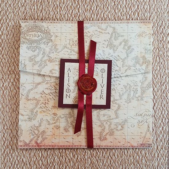 Game of Thrones Wedding Invitation Pocketfold, customised, 3 inserts &…