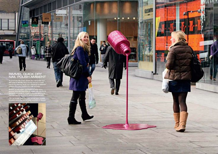 Rimmel Quick Dry Nail Polish Advertisement: To advertise Rimmel Quick Dry nail polish, bottles of nail polish appeared to have been poured onto the floor from a height with the liquid drying in seconds to create a surreal spectacle, highlighting the product's quick drying.