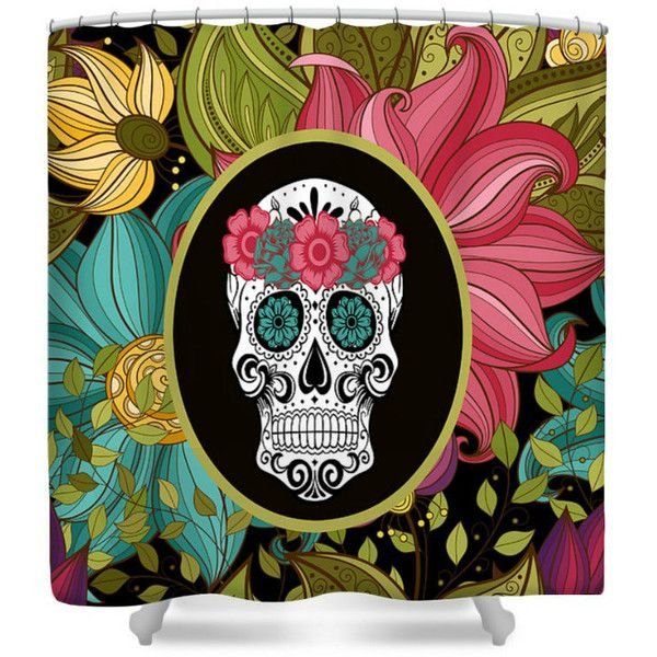 Sugar Skull Shower Curtain Tropical Floral ($60) ❤ liked on Polyvore featuring home, bed & bath, bath, shower curtains, bathroom, dark olive, home & living, shower curtains & rings, tropical shower curtains and floral shower curtains