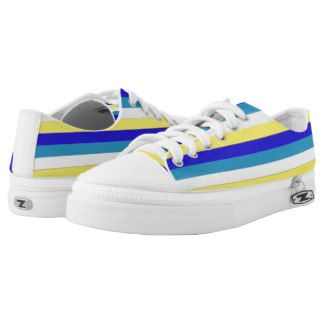 Blue, yellow and white stripes low top shoes printed shoes