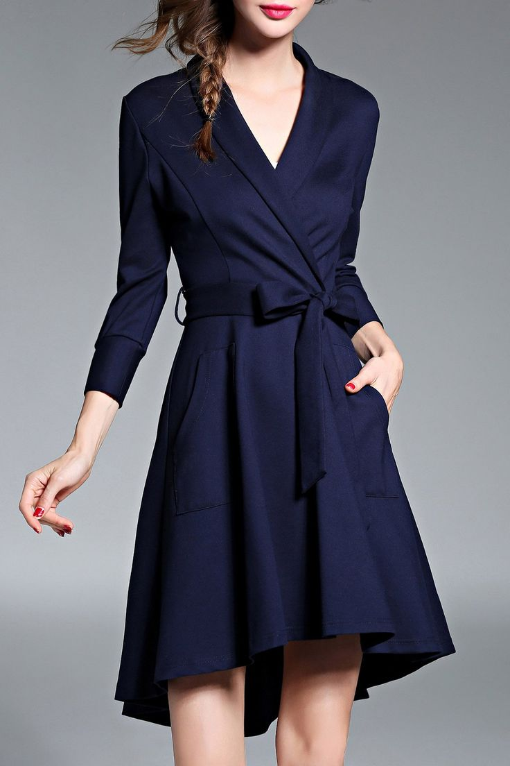 Twin Pocket High Low Dress with Belt