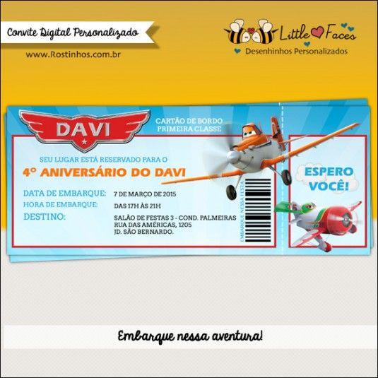 Convite feito especialmente para o Davi comemorar seu aniversário de 4 anos com uma super festa tema Aviões da Disney.