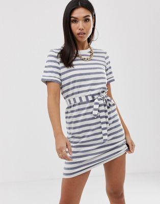 c8855ec07d62 DESIGN mini t-shirt dress in bold stripe with belt in 2019 | Clothes ...