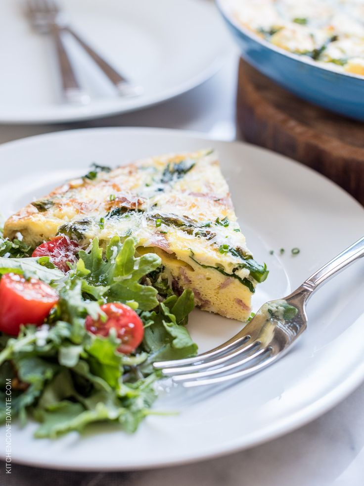 This easy Asparagus, Ham and Kale Frittata is full of your favorite spring vegetables and delicious for lunch, brunch, or sliced for on-the-go breakfasts!