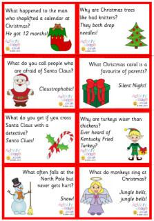 How many ways can you enjoy a good Christmas joke with the kids? Here you can read them online (scroll down the page), print them out for advent calendars or lunch boxes or party games - or just a fun little pick-me-up to find on the breakfast table each morning! We've also got a brand new collection of lovely joke bookmarks which will perk up a reading book nicely...