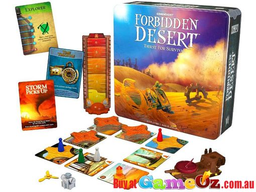 Forbidden+Desert+Thirst+For+Survival+Game+In+Tin  Gear+up+for+a+great+adventure+to+retrieve+a+legendary+flying+machine+buried+deep+in+the+ruins+of+an+ancient+desert+city!+By+coordinating+with+your+team+mates+and+using+the+available+resources+you+may+survive+the+scorching+heat+and+relentless+sandstorm!+Find+the+flying+machine+and+escape+while+you+can…