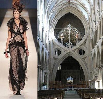 Jean Paul Gautier, s/s 2009, cathedral inspired fashion  Wells Cathedral scissor arch pictured