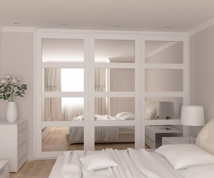 Mirrors inside the spray painted frame sliding doors wardrobe