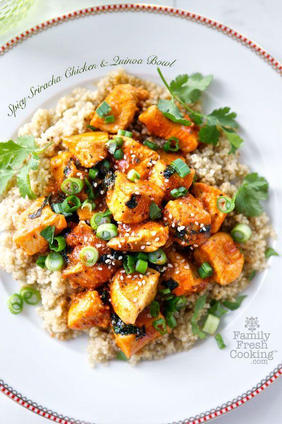 spicy sriracha chicken and quinoa bowl