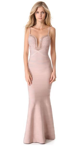 Priscilla Beaded Wire-Neckline Dress Nude in store now!