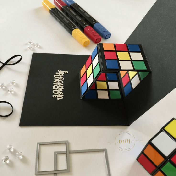 Carte anniversaire pop up Rubik's dice et son tutoriel
