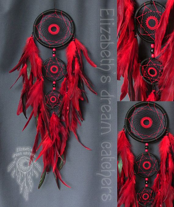 Dream catcher Dreamcatcher Black dreamcatcher Red feathers