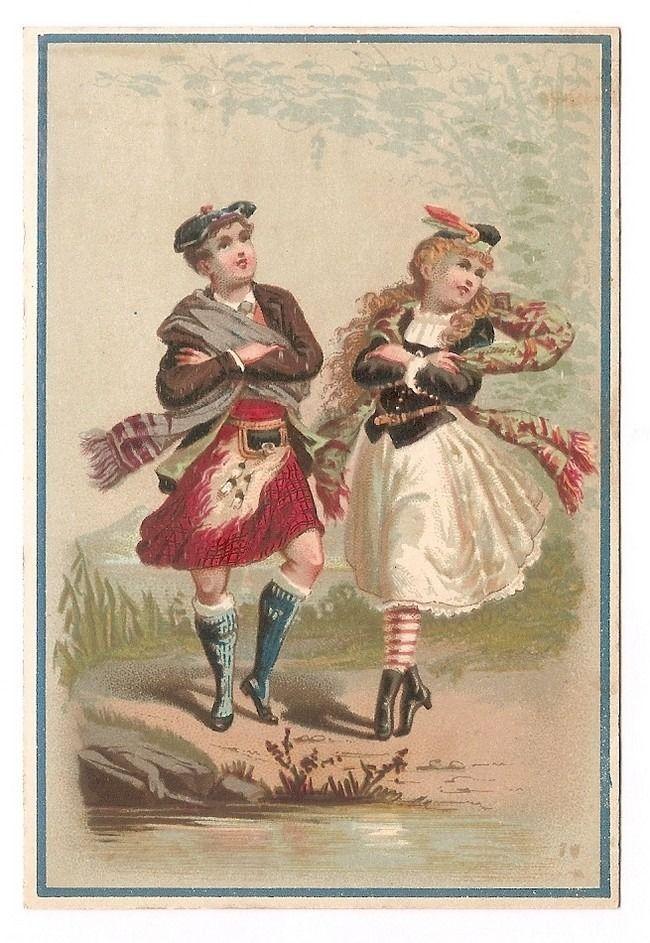 Danseurs Ecossais - - Couple Danse Costume - Chromo Lajeunesse Marx - Trade Card