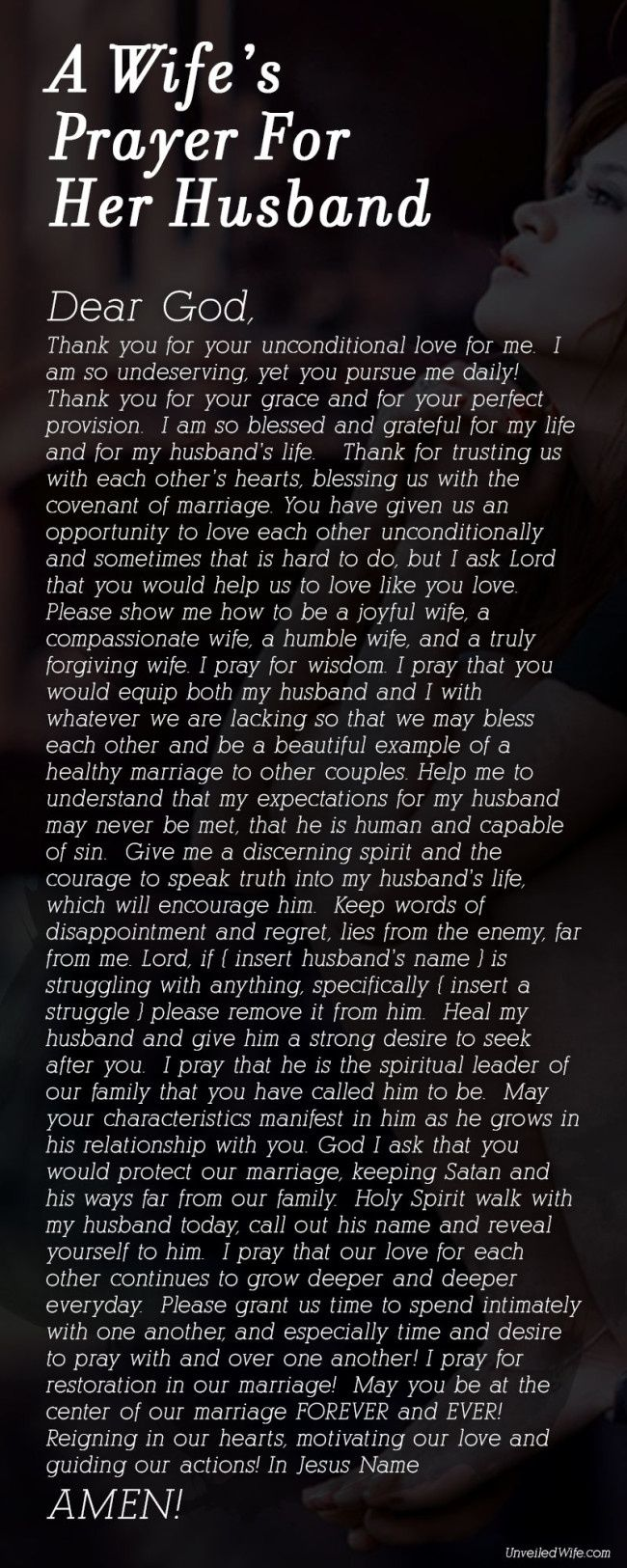 This wife's prayer for her husband from UnveiledWife.com is wonderfully intimate and inspiring. Wives, come read and pray!