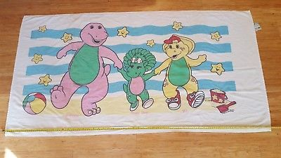 Barney the Dinosaur Beach or Bath Towel Baby Bop BJ 1990's by Franco 100% Cotton