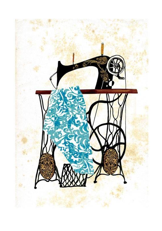 рисунок швея за швейной машинкой красивая бутафория мотивам