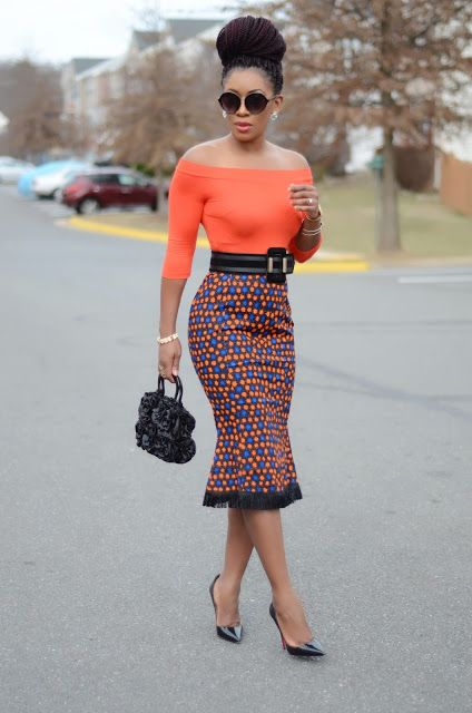 Living+My+Bliss+InStyle:+Off+Shoulder+Top+++Ankara+Skirt