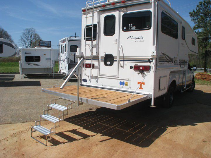 Truck Camper Porch Steps And Handrail Slide In Truck