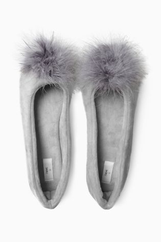 Keep your loungewear cosy and glam with these Grey Pom Ballerina Slippers...