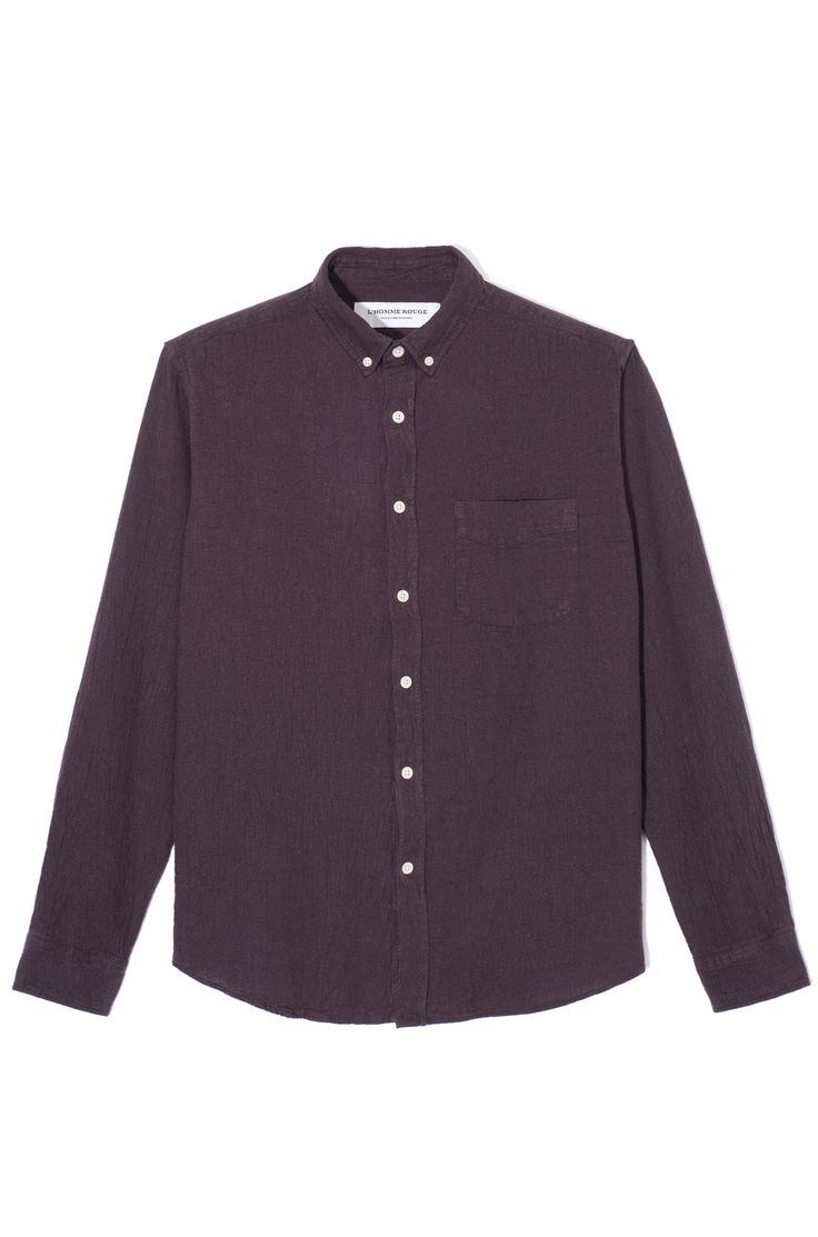 Dark Aubergine is the colour. L'homme Rouge, Cotton/Linen shirt.
