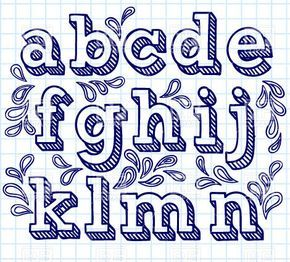 Vector image of Hand drawn font - small shaded letters and decorations #29796 includes graphic collections of alphabet, font, hand drawn and letter. You can download this image in EPS and JPG format.