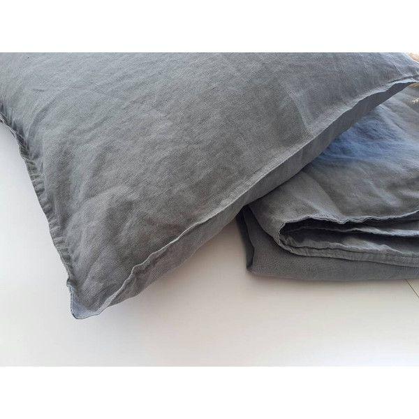 Grey Linen Bedding Softened Linen Duvet Cover Grey Sham Rustic Linen... ($15) ❤ liked on Polyvore featuring home, bed & bath, bedding, duvet covers, grey, home & living, gray euro pillow shams, european sham, euro pillow shams and grey euro pillow shams