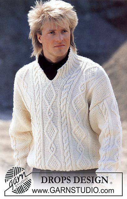 """Ravelry: 11-11 Aran jumper with front opening in """"Alaska"""" pattern by DROPS design"""