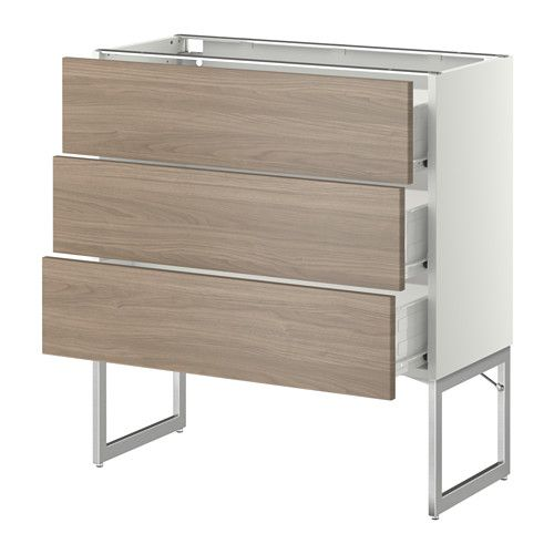 METOD / FÖRVARA Onderkast 3 fronten/3 M lades - 80x37x60 cm, Brokhult walnootpatroon lichtgrijs, wit - IKEA