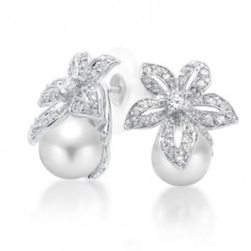 Bling Jewelry Flower Bridal South Sea Shell Pearl Pave Earrings 9mm