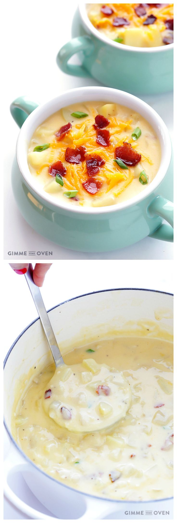 Potato Soup -- thick, creamy, and absolutely delicious.  Plus it's made lighter with milk instead of heavy cream! | gimmesomeoven.com