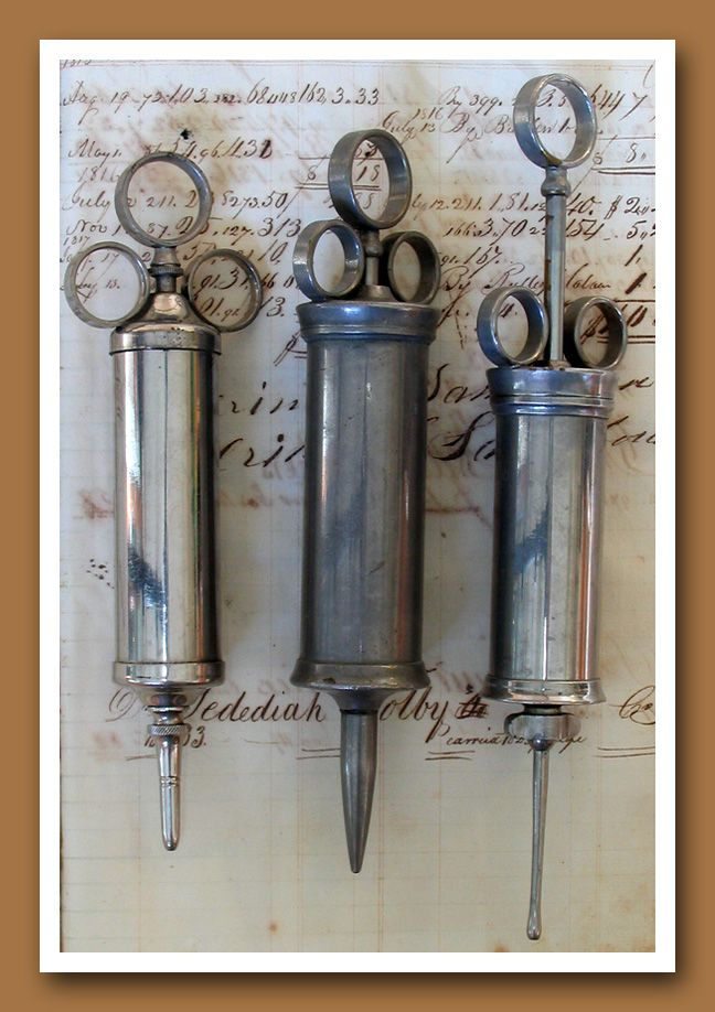 "Vintage Medical. Apothecary 8. Vintage irrigating syringes. 8""-9"" in length."
