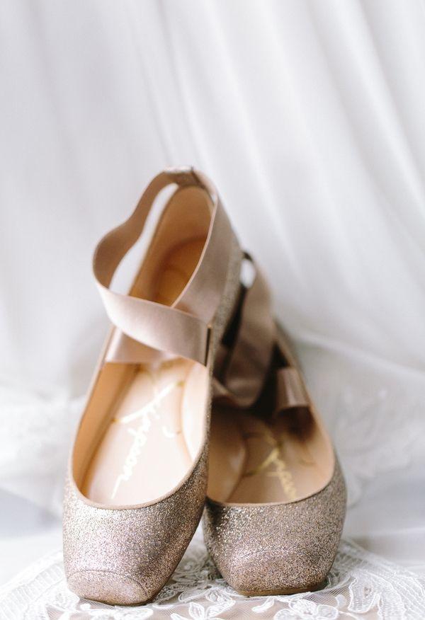Ballet slippers, gold glitter, wedding shoes // JoPhoto