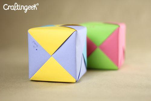Cubo modular origami carta para San Valentín