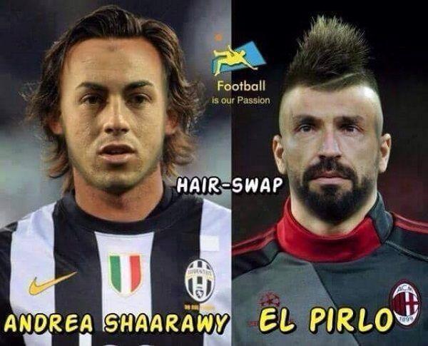 Połączenie Stephana El Shaarawy i Andrei Pirlo • Świetni piłkarze w nieswoich kreacjach • Zabawny obrazek gwiazd Serie A • Zobacz >> #memes #football #soccer #sports #pilkanozna #funny