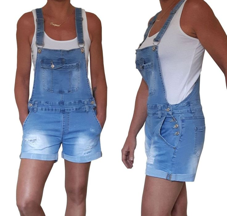 NEU Damen Latzshorts kurze Latzhose Relaxed Fit Shorts Jeans Print 34 36 38 40
