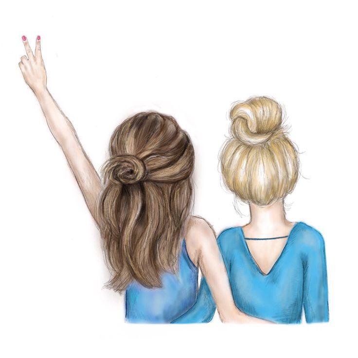 Картинки с двумя подругами нарисованные