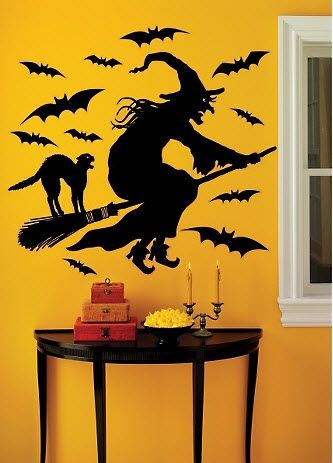 take a look at this flying witch wall decal set by martha stewart crafts on today - Martha Stewart Halloween Decor