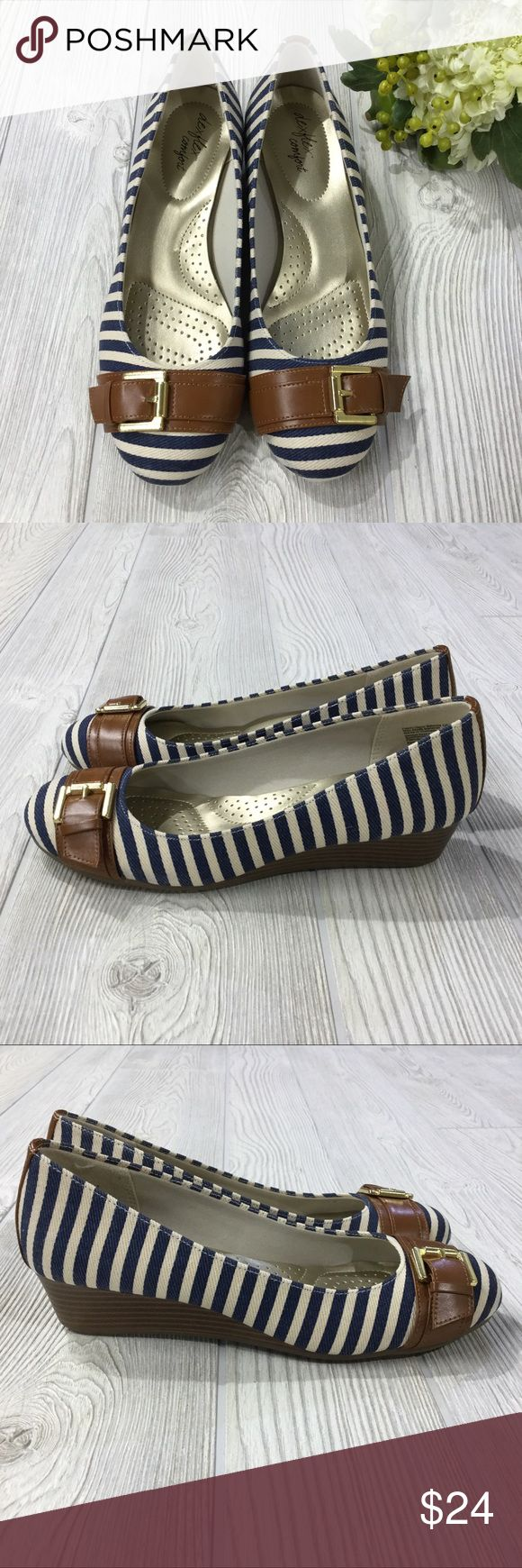 "Striped Wedge w/ Buckle Detail NWOT Striped Wedge w/ Toe Buckle Detail (non adjustable), Navy & Ivory Stripe, Faux Wood Wedge Detail, Gold DexFlex Comfort Insole, 1.5"" Wedge Height, Man Made Materials, NWOT DexFlex Shoes Wedges"