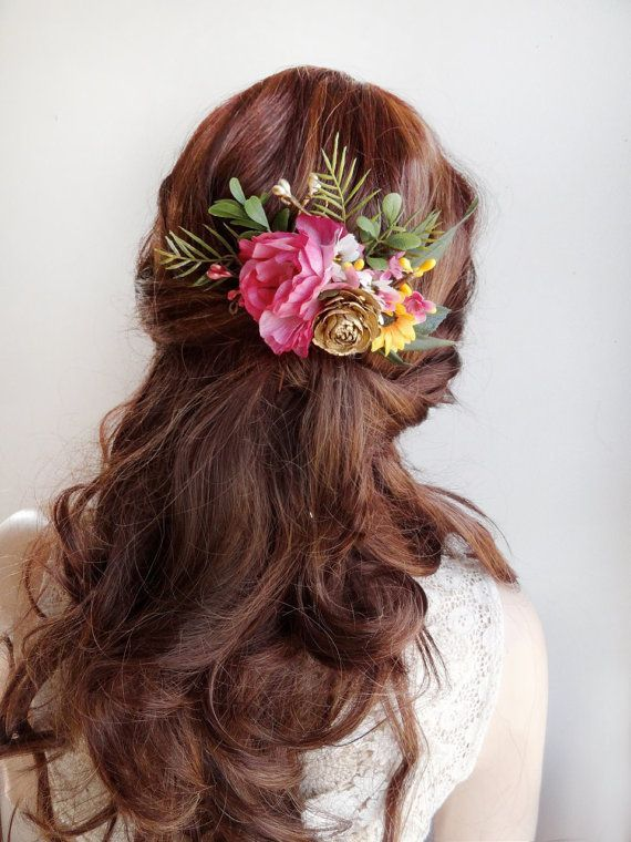 Floral Hair Comb Bridal Flower Hairpiece Bridal Headpiece Pink