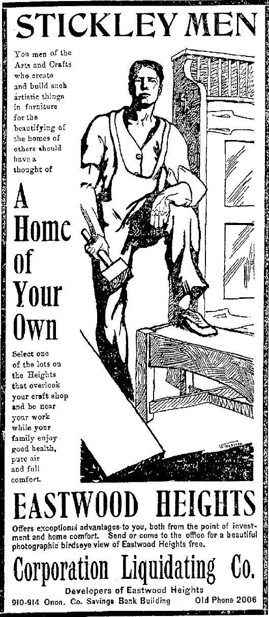 1904 ad that ran in Syracuse, NY newspapers enticing Stickley workers to buy homes close to the Stickley plant in Eastwood, NY