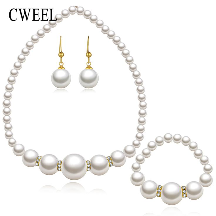 New Bridal Simulated Pearl Jewelry Sets For Women Gold Plated Wedding Accessories Necklace Chokers Earrings Bracelet Ring Set