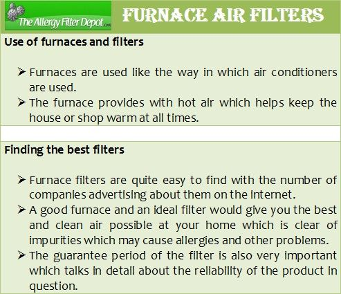 Allergy Filter Depot offers a wide choice of sizes of furnace air filters. Buy air furnace filters with some of the best Merv ratings and reviews available on the market. Get more details at http://www.allergyfilterdepot.com