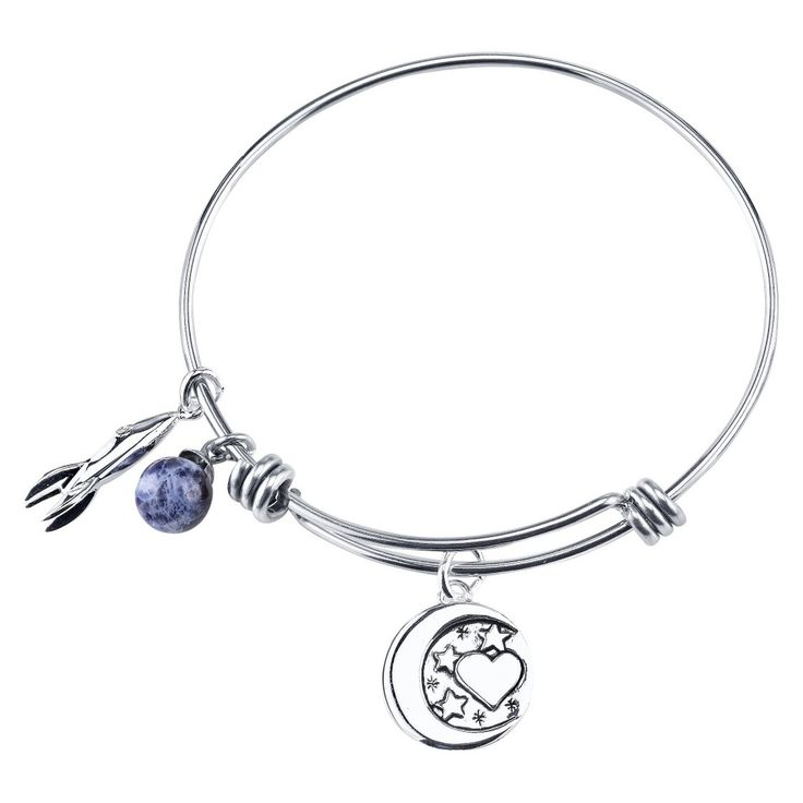 Stainless Steel Expandable Bracelet I love you to the Moon and Back - Silver