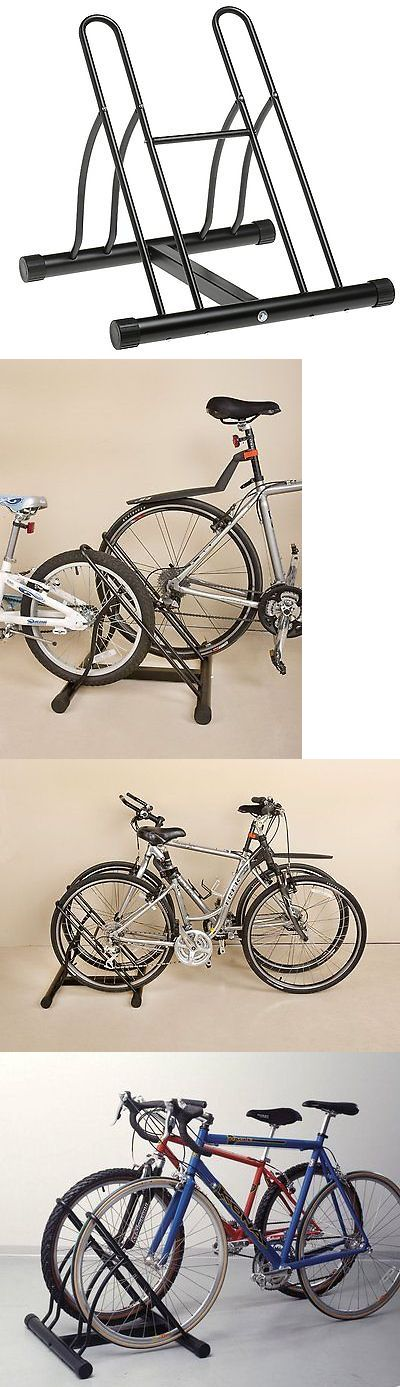 Bicycle Stands and Storage 158997: Bicycle Garage Storage Organizer Two Bike Cycle Floor Stand Rack Bicycle BUY IT NOW ONLY: $37.99