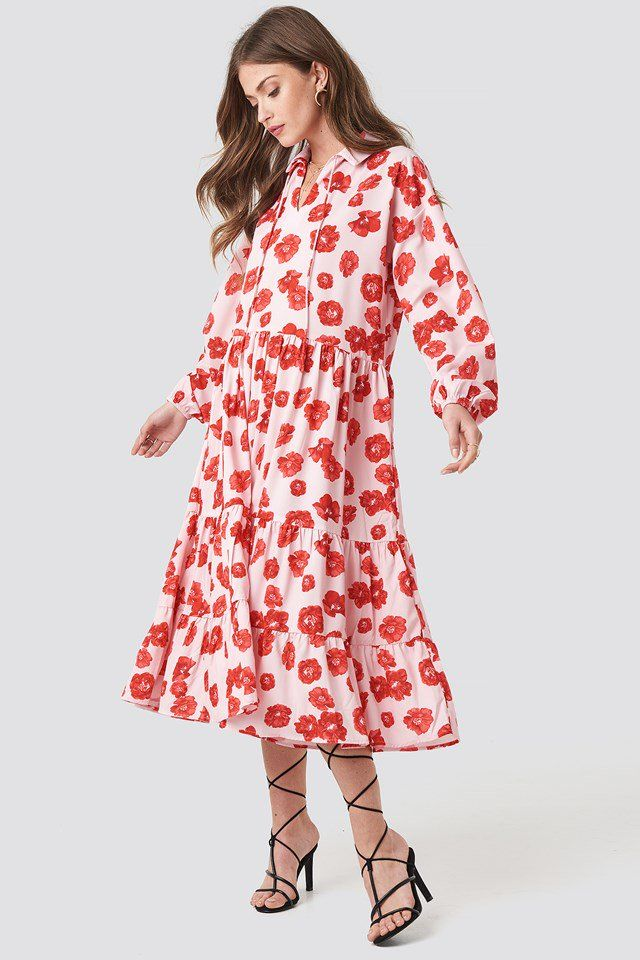 cf9b07de Tiered Detail Balloon Sleeve Dress Poppy Red Flower | na-kd.com Red Poppies